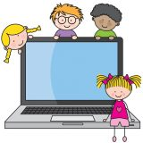 children-with-a-computer-vector-937316